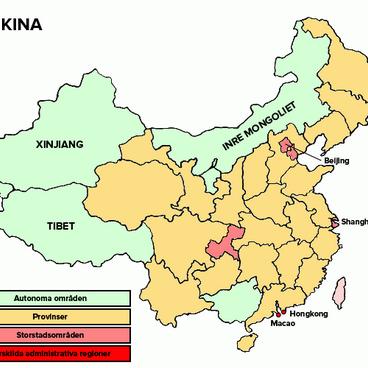 Tibet, Xinjiang och Inre Mongoliet